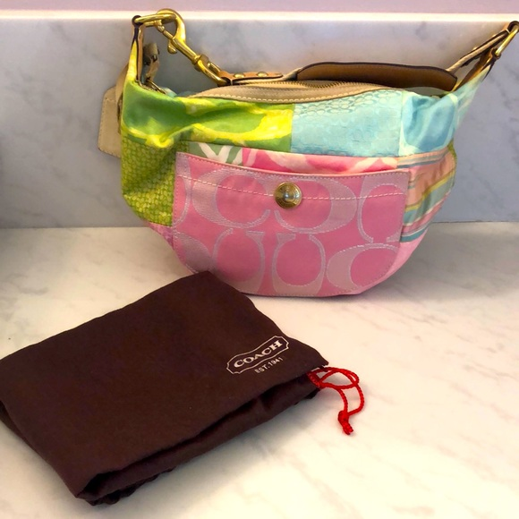 Coach multi color Hamptons hobo mini bag
